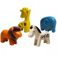 Wildtier Set Safari Tiere 4 Tierfiguren Holz