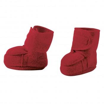 Warme Babyschuhe Klettverschluss Schurwolle bordeaux