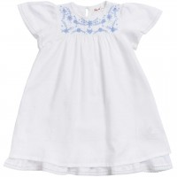 Edles Dobby Baby Kleid kurzarm in weiss