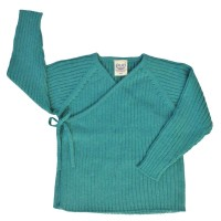 Vorschau: Wolle Biobaumwolle Strick Babyjacke - neutral mint petrol