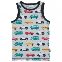 Graues Unterhemd bunte Autos