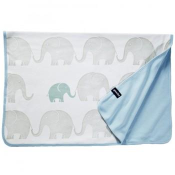 Bio Babydecke Elefanten-Familie pastellblau