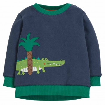 Pullover mit Krokodil Aufnäher