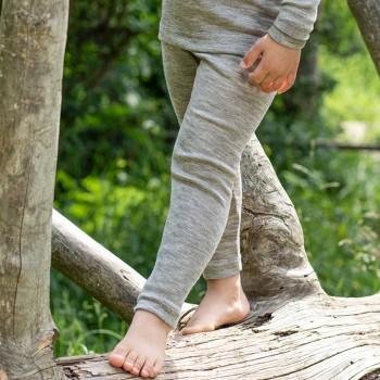 Kinder Leggings  Wolle seide hellgrau