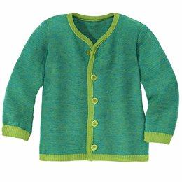Leichte warme Strickjacke Wolle atmungsaktive grün