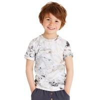 Seidig glattes T-Shirt coole Marmoroptik Jungen