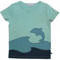 Edles T-Shirt Delfin Aufnäher in petrol