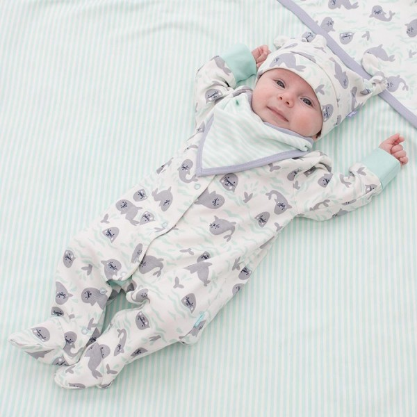 Babystrampler mit Fuss super kuschlig soft Seal