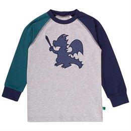 Graues Raglan Drachen Shirt