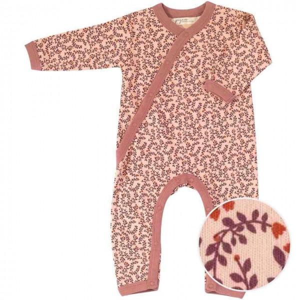 Baby Strampler mit Fußumschlag - Blätter rosa