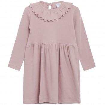 Altrosa Kleid mit Kragen langarm