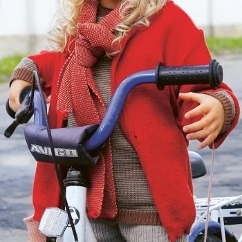 Leichte warme Strickjacke Wolle atmungsaktive rot