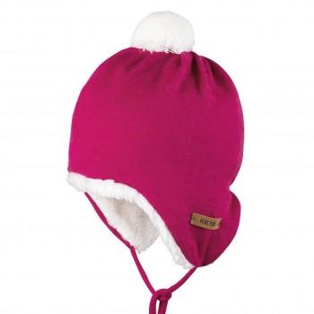 Warmer Baumwoll-Plüsch außen Wolle Mütze Himbeere