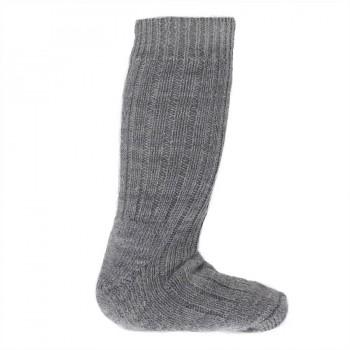 Lange Halbplüsch Wollsocken für Gummistiefel grau