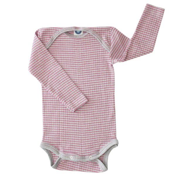 Baumwolle Wolle Seide Body langarm grau pink meliert