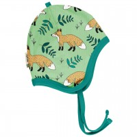 Babymütze leicht mit Ohrenschutz Füchse in hellgrün