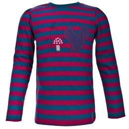 Jersey Langarmshirt mit Eichhörnchen gestreift pink