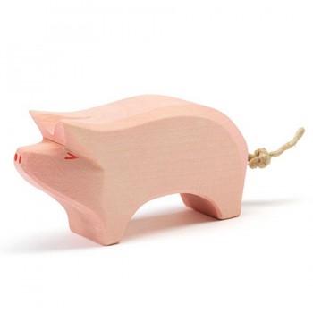Schwein Holzfigur Rüssel hoch 6 cm