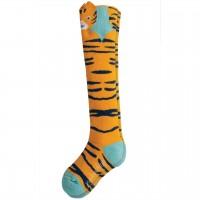 Kinder Kniestrümpfe Tiger-Design gelb