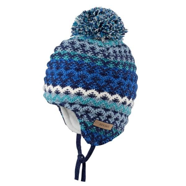 Winter Strickmütze in blau grau gestreift