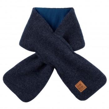 Fleece Wolle Steckschal 80x12 cm jeans-blau