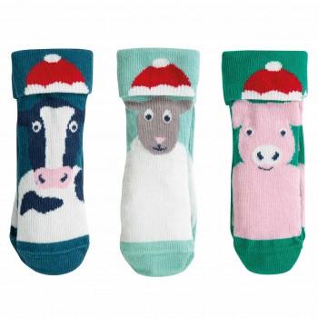 Babysocken mit Weihnachtstieren 3er Pack