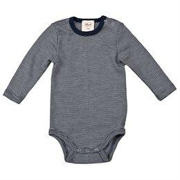 Wolle Seide Baby Body blau gestreift