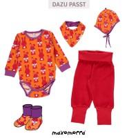 Vorschau: Hasen Baby Body langarm - orange