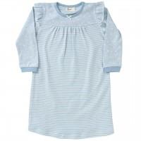 Nachthemd langarm Ringel Rüschen hellblau