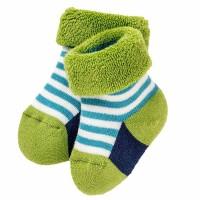 Öko Babysöckchen warm Frottee innen - blau grün