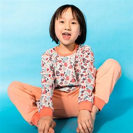 Mädchen Pyjama Fische apricot