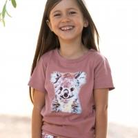 Rosa Shirt kurzarm Koala-Druck