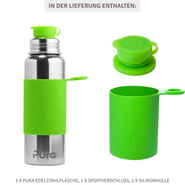 Grosse Pura Edelstahl Sportflasche 800 ml grün