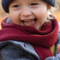 Kinder Schal Wolle Seide in weinrot