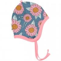 Babymütze leicht mit Ohrenschutz Sonnenblumen in blau