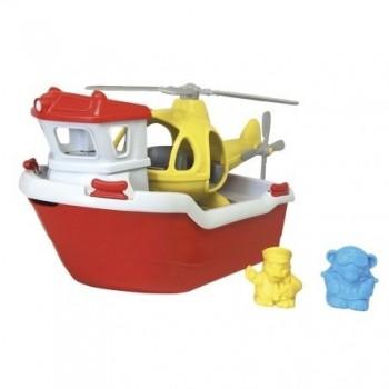 robuste Fähre mit Helikopter und Figuren Badespielzeug