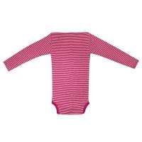 Vorschau: Atmungsaktiver Body Wolle Seide pink gestreift