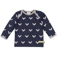 Wolle Baumwolle Shirt Fledermaus marine