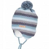 Vorschau: Winter Babymütze aus Biobaumwolle Wolle Seide blau