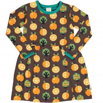 Flatterkleid langarm Orangen braun