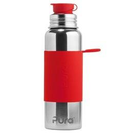 Pura Edelstahl Sportflasche Sportverschluss 800 ml rot