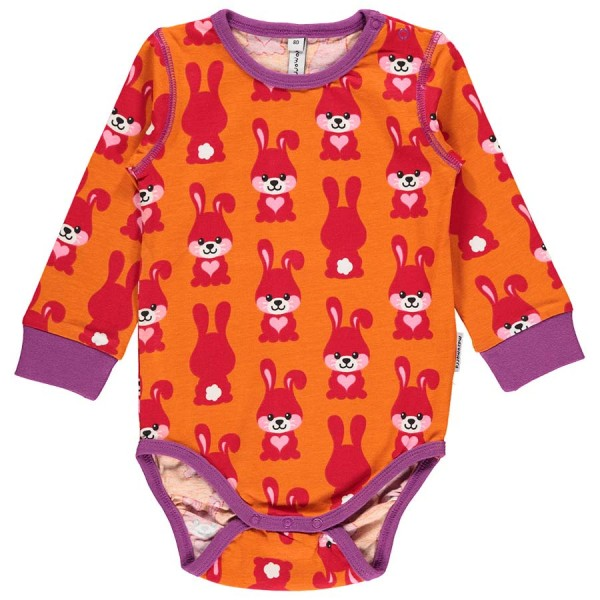 Hasen Baby Body langarm - orange