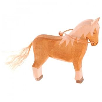 Pferd Haflinger Holzfigur stehend 12,5 cm hoc