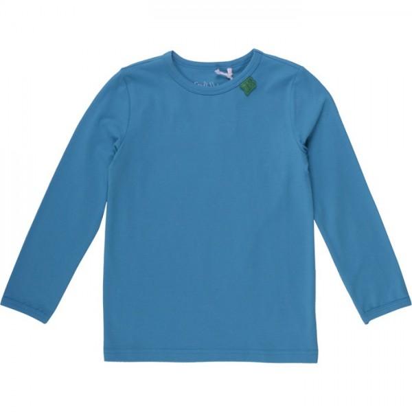 Bio Langarmshirt - tolles dehnbares Basic Shirt - blau