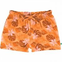 Leichte Shorts Blätter Alloverprint in hellem orange
