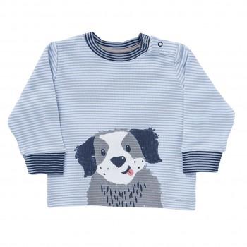 Langarmshirt Hundewelpe hellblau geringelt
