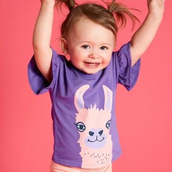 Mädchen Shirt kurzarm Lama lila Rüschen