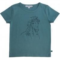 Shirt kurzarm petrol Pferd gestickt