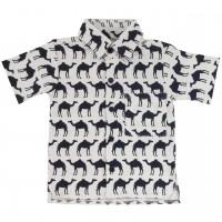 Navy Hemd Kamel-Druck kurzarm Shirt