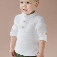 Musselin Shirt 3/4 Arm Kragen weiß